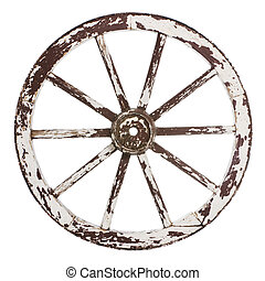 Old cart wheel - Old wooden cart wheel with white paint over...