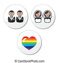 alegre, /, lesbiana, boda, iconos, Conjunto