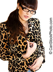 Beautiful teacher in leopard jacket on white background