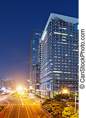 shenzhen - the light trails on the modern building...