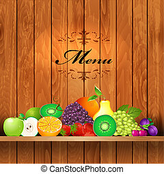 Juicy fruit on wooden shelves for your design