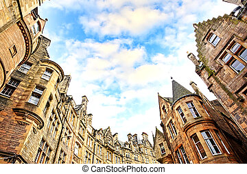 Historical architecture in the street of the Old Town in Edinburgh