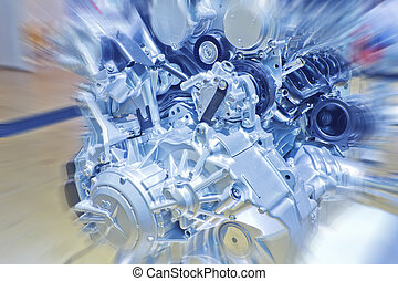 Engine - Complex engine of modern car interior view