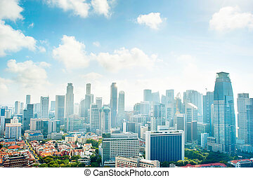 Urban Singapore in the morning - Cityscape of Singapore...
