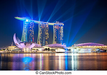 Marina Bay Sands at night - Singapore, Republic of...