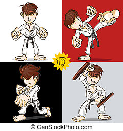 Martial Art Karate - Man Demonstrate Punching, Kicking And...