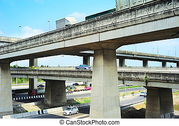 Flyover - Cars on a urban flyover in Bangkok, Thailand