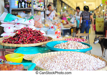 Thailand market - Food market in Thailand. Focus on a garlic