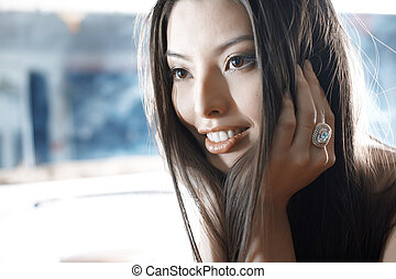 Asian beauty - Elegant Asian lady with luxurious jewelry