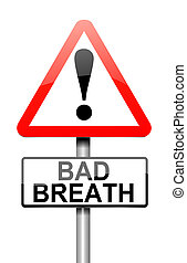 Bad breath concept. - Illustration depicting a sign with a...