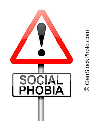 Social phobia concept. - Illustration depicting a sign with...