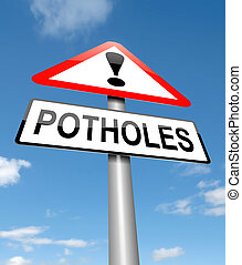 Potholes warning sign. - Illustration depicting a sign with...