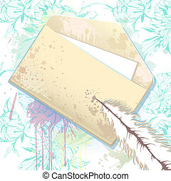 Vector card with grunge envelope