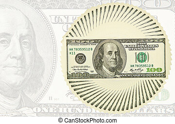 Dollar bills outlined circle on a dollar background