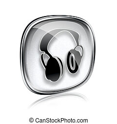 headphones icon grey glass, isolated on white background.