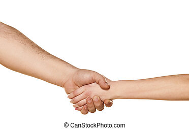 male and female shaking hands