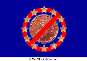 no symbol - A no symbol with a European flag and a Euro coin