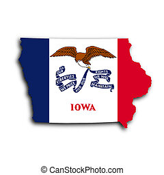 Map of Iowa, filled with the state flag