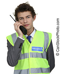Security guard with radio