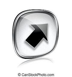 矢, 背景, 灰色, 隔離された, ガラス, 白, アイコン