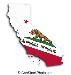 Map of California, filled with the state flag
