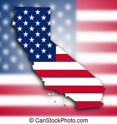Map of California, filled with the national flag