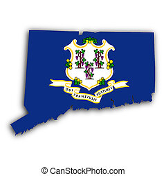 Map of Connecticut, filled with the state flag