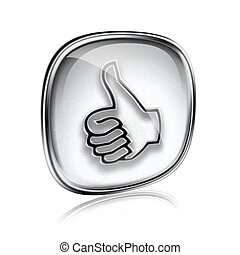 thumb up icon grey glass, approval Hand Gesture, isolated on white background.