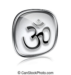 Om Symbol icon grey glass, isolated on white background.