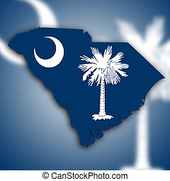 Map of South Carolina, filled with the state flag