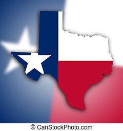 Map of Texas, filled with the state flag