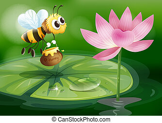 A bee with a pot of honey above a waterlily - Illustration...