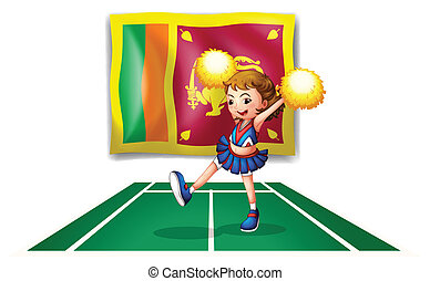 The flag of Sri Lanka and the cheerdancer with yellow pompoms