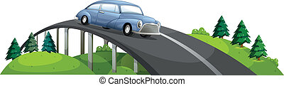 A car passing over the bridge - Illustration of a car...