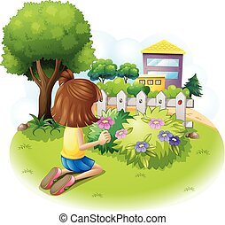 A girl picking flowers