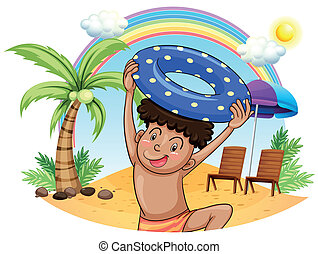 A young boy enjoying at the beach - Illustration of a young...