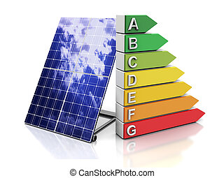 solar energy - 3d illustration of energy efficiency symbol...