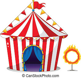 A circus tent beside a ring of fire - Illustration of a...