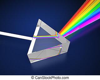 prism - 3d illustration of prism with light spectrum