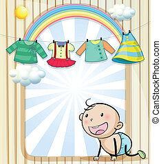 A baby girl's clothes hanging