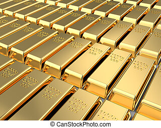 golden bricks - 3d illustration of golden bricks background