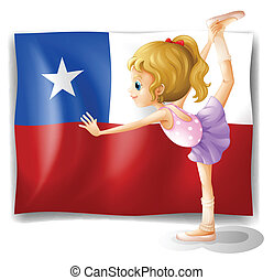 The flag of Chile and the young ballet dancer