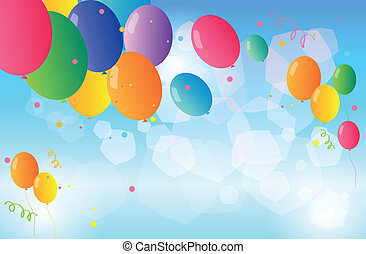 Colorful balloons floating in the sky - Illustration of the...