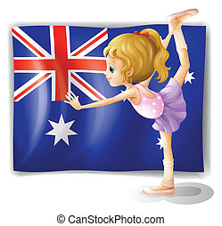 A young girl dancing in front of the Australian flag -...
