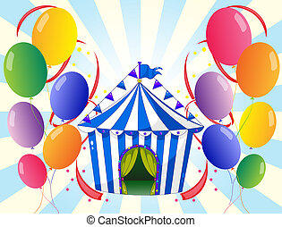 Twelve colorful balloons and the stripe tent - Illustration...