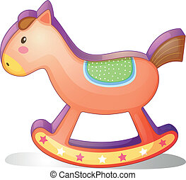 A wooden horse toy - Illustration of a wooden horse toy on a...