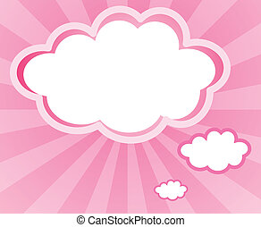 A cloud with a pink background - Illustration of a cloud...