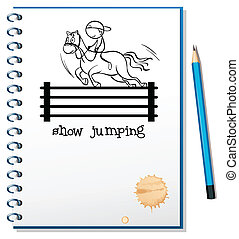 A notebook with a sketch of a boy riding a horse -...