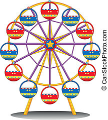 A ferris wheel - Illustration of a ferris wheel on a white...