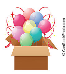 A box with eight colorful balloons